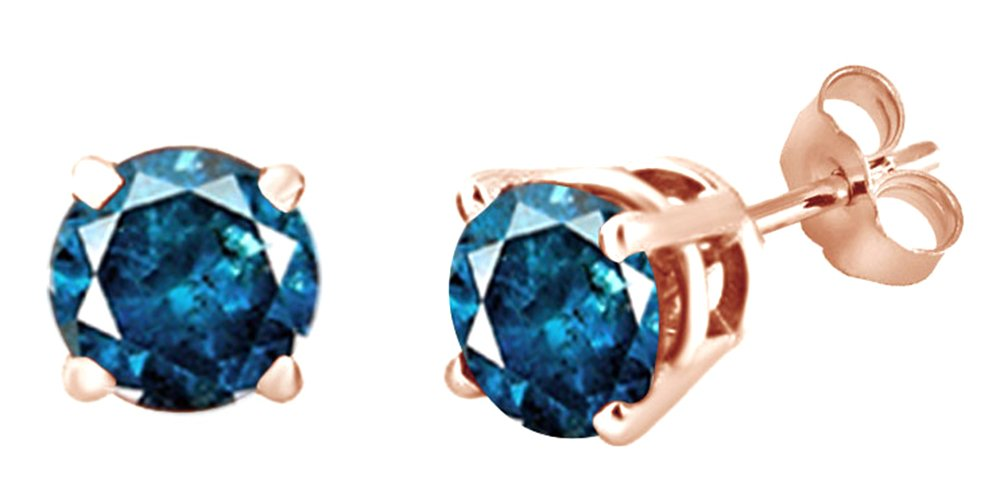 Round Shape Blue Natural Diamond Solitaire Stud Earrings In 14K Rose Gold (0.5 Ct)