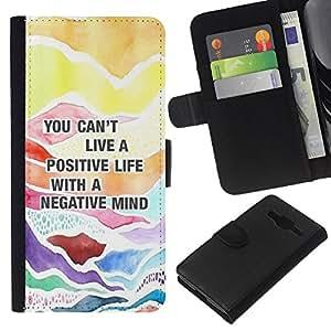 Cita positiva Consejos texto- la tarjeta de Crédito Slots PU Funda de cuero Monedero caso cubierta de piel Para Samsung Galaxy Core Prime