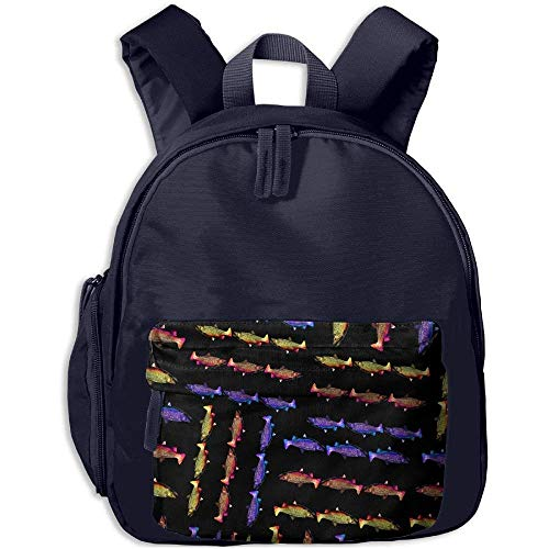 Rainbow-Golden-Brook-Trout Boy Girls Basic Lightweight Student Backpacks Casual Backpack ()