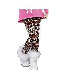 Jlong Kids Girls Winter Warm Stretchy Fleece Snowflake Pants Tight Leggings 1-9Y