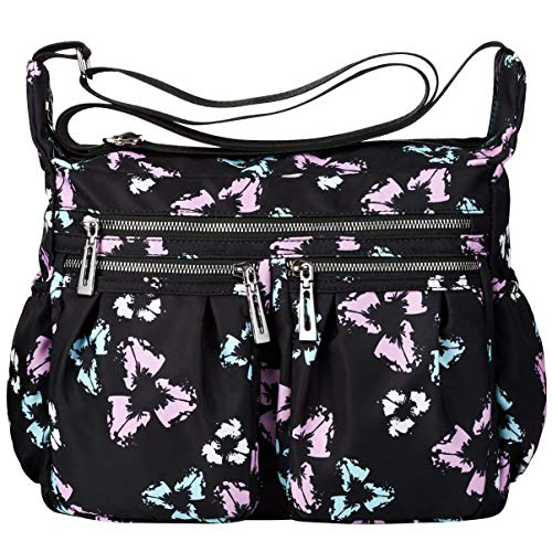 Nawoshow Nylon Floral Multi-Pocket Crossbody Purse Bags for Women Travel Shoulder Bag (T11-Pink&Blue) - Multi Junior Handbags