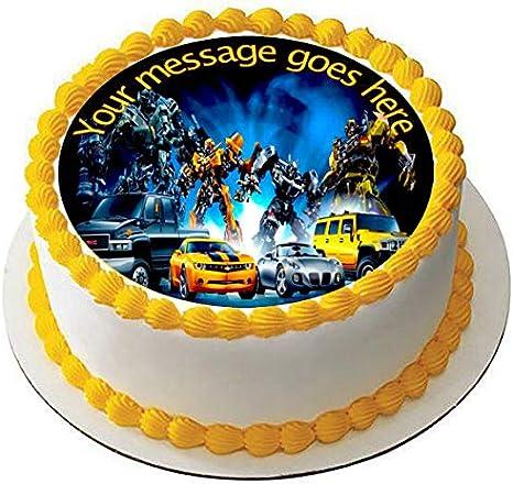 Transformers - Decoración comestible para tartas (19 cm), diseño de fondant: Amazon.es: Hogar