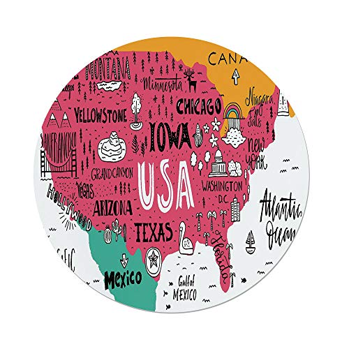 iPrint Polyester Round Tablecloth,USA Map,American Cities Calligraphy on Plan Arizona New York Chicago Cartoon,Pink Marigold Teal White,Dining Room Kitchen Picnic Table Cloth Cover,for Outdoor Indoor for $<!--$24.66-->