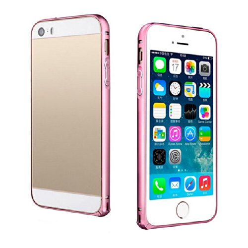 ABC Fashion Luxury Slim Metal Aluminium Alloy Arc Bumper Frame Case Cover for Iphone 5 5s (Pink)