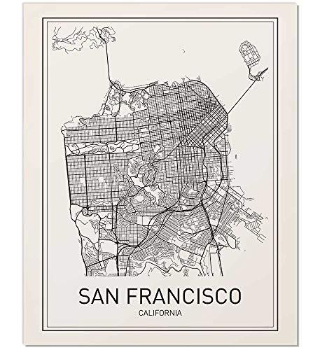- San Francisco Map, City Map Poster, San Francisco Print, California Print, California Map, City Maps, Map Print, Map Art Print, Black and White, Map Wall Art, Map Art, Scandinavian Poster, 8x10