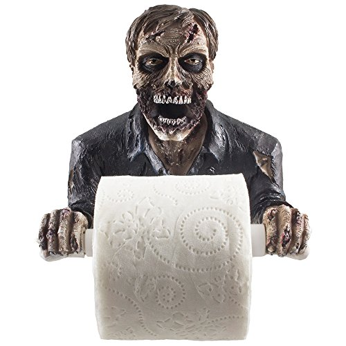 The Undead Graveyard Zombie Decorative Toilet Paper Holder in Scary Halloween Decorations As Bathroom Wall Decor Art & Plaques or Spooky Home Bath Decorating Accessories for Whimsical Novelty (Graveyard Halloween Ideas)