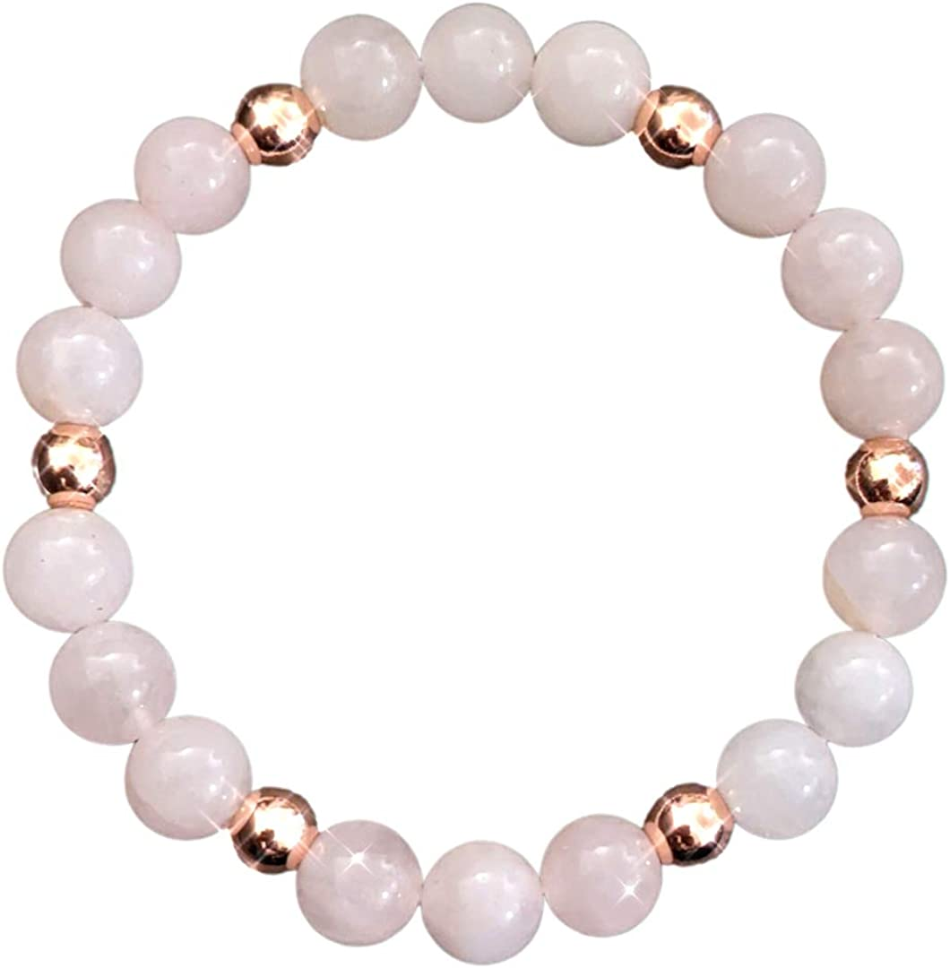 Healing Mala Heart Chakra Healing Crystal Bracelets Rose Quartz Gifts for Women Rose Gold Colored Ball Spacers Rose Quartz Bracelet for Women for Love Attraction