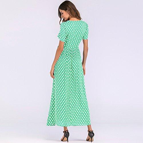 Manches Vert Haute Robe Romacci Cravate Courtes Robe A Femmes Vintage Line Longue Taille Mode Vintage f1xwS6qY