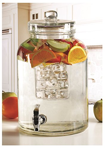 (Circleware Brington Glass Beverage Drink Dispenser with Ice Insert and Fruit Infuser, 2.64 gallon, Clear)