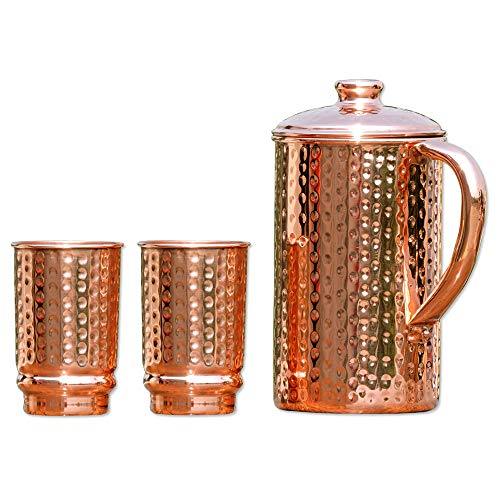 HealthGoodsIn - Pure Copper (99.74%) Hammered Water Jug with 2 Hammered Copper Tumblers | Copper Pitcher and Tumblers for Ayurveda Health Benefits (With Drinking Jugs Lids)
