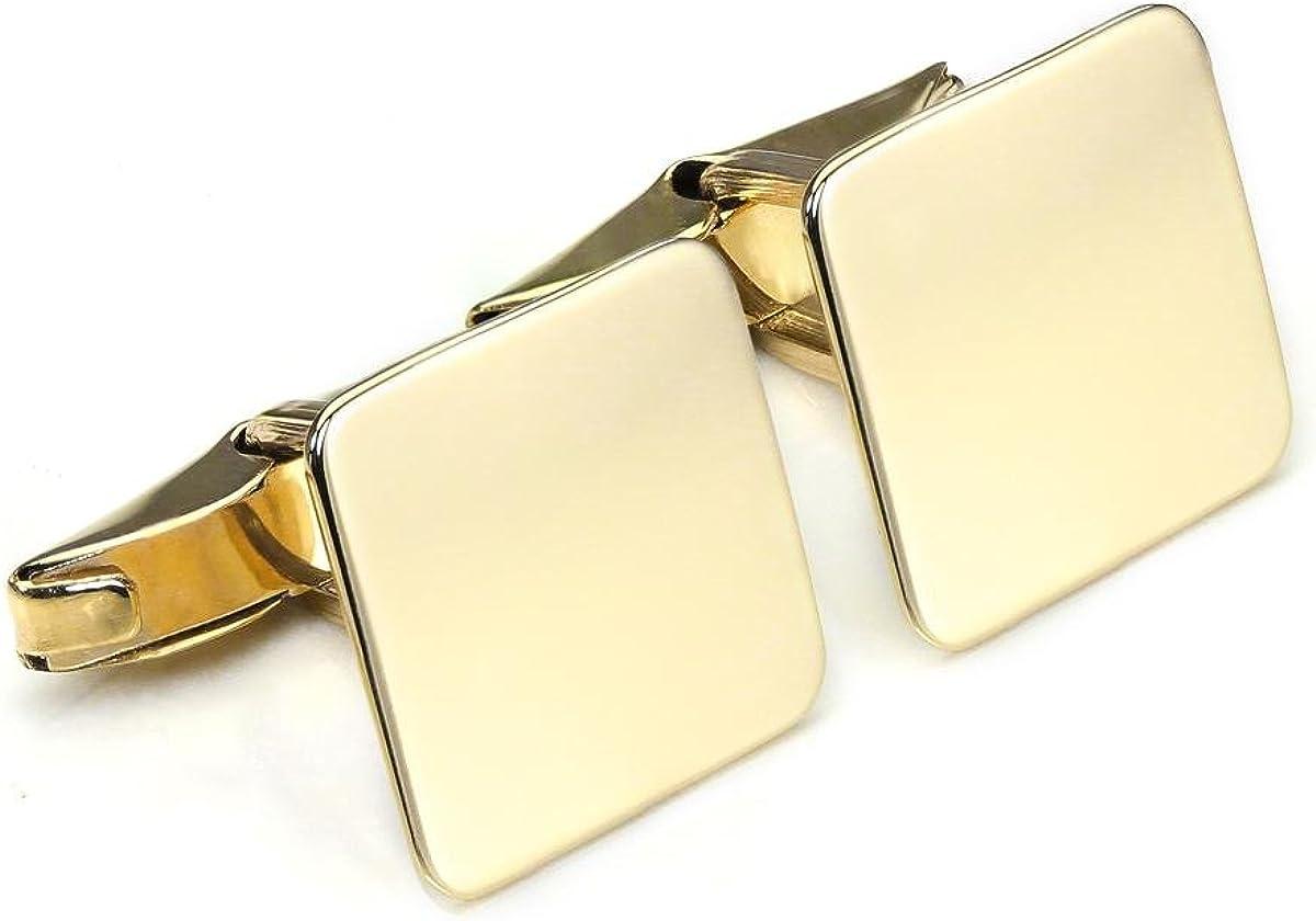 9ct Gold Plain Square Swivel Back Cufflinks