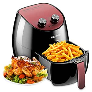 Aigerek Air Fryer - Comes with Recipes CookBook - Easy-to-clean - Dishwasher Safe - Auto Shut off & Timer - 3.2L, 1350W