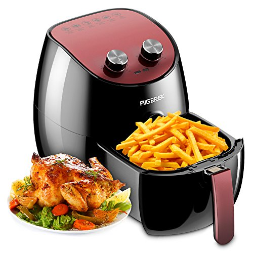 Aigerek Air Fryer - Comes with Recipes CookBook - Touch Screen Control - Dishwasher Safe - Auto Shut off & Timer - 3.2L
