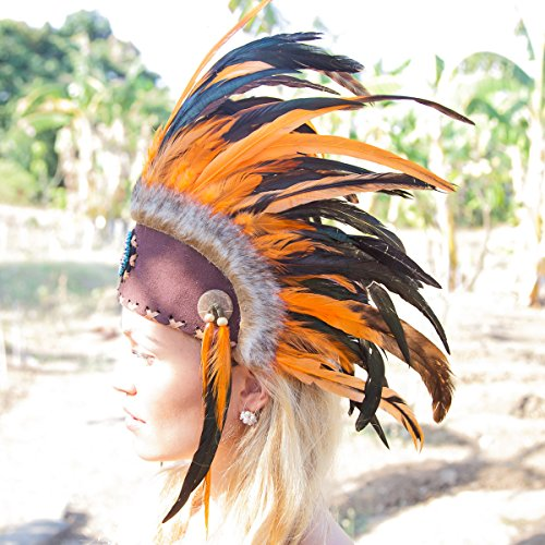 Novum Crafts Feather Headdress | Native American Indian Inspired | Orange (Feathered Headdress)