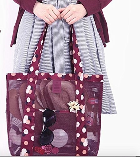 Maroon Colour Beach Pool Fashion Mesh Tote Sling Bag Family Children Play Sand Wet Toys Easy Storage Outdoor Casual Tote Handbag