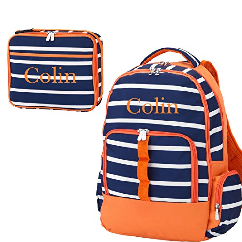 Reinforced Design Water Resistant Backpack and Lunch Sack Set (Personalized, Line-Up Navy Orange) (Barn La Pottery)