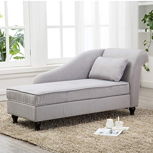 Chaise Lounge Sofa Couch Storage Upholstered for Living Room Bedroom Gray (Furniture Lounge Chaise Indoor)