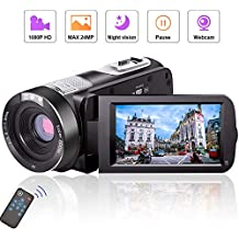 Camcorder Video Camera Full HD Camcorders 1080P 24.0MP Vlogging Camera Night Vision Pause Function Remote Controller