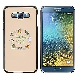 Stuss Case / Funda Carcasa protectora - Imprimé animal jaune texte - Samsung Galaxy E7 E700