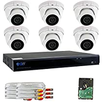 GW Security 8 Channel 5 in 1 XVR DVR 6 x 4MP 1440P 3.6mm Lens Security System 2T HD