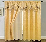 Cheap RT Designers Collection Carmelo Jacquard 54 x 84 in. Double Rod Pocket Curtain Panel w/ Attached 18 in. Valance, Beige