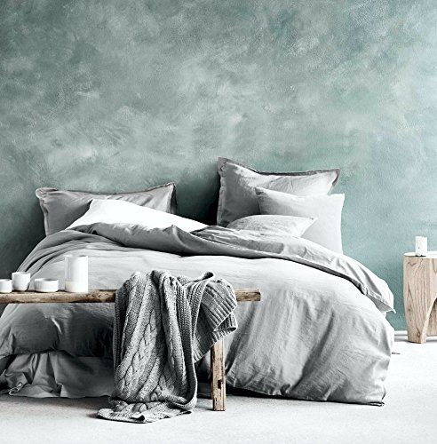 Eikei Washed Cotton Chambray Duvet Cover Solid Color Casual Modern Style Bedding Set Relaxed Soft Feel Natural Wrinkled Look (King, Ice Grey)