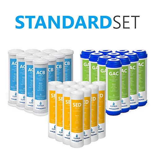 Express Water - Reverse Osmosis and Under Sink System Replacement Filter Set - 30 Filters with Carbon (GAC, ACB) Filters and Sediment (SED) Filters - 10 inch Standard Size Water Filters