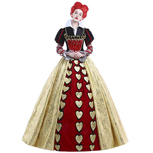 iCos Women Long Dress Red Queen Halloween Party Cosplay Costume Satin Ball Gown (X-Large)]()
