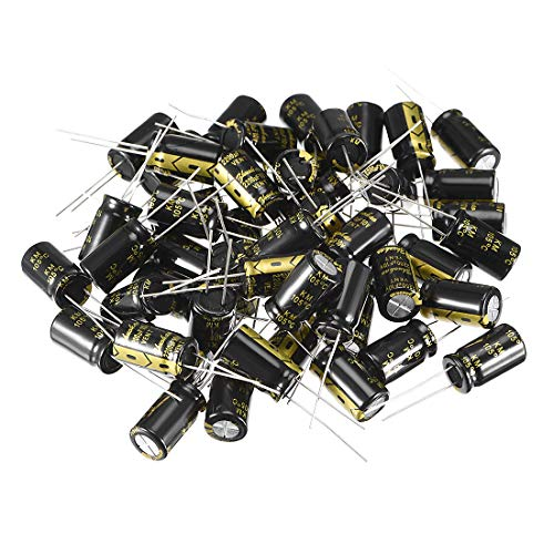 uxcell Aluminum Radial Electrolytic Capacitor with 2200uF 10V 105 Celsius Life 2000H 10 x 17 mm Black 50pcs