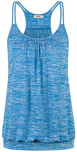 BEPEI Racerback Shirts for Women,Ladies Dry Fit Training Stretchy Blouson Tops Solid Color Loose Banded Bottom Boat Neck Tank Heathered Modern Chic Tunic for Leggings Regular Blouse Light Blue Large