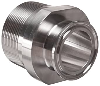 "Parker Sanitary Tube Fitting, Stainless Steel 304, Adapter, 1-1/2"" Tube OD x 2"" NPT Male"