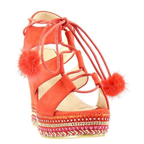 Angkorly Zapatillas de Moda Sandalias Alpargatas Zapatillas de Plataforma Abierto Mujer Perla Trenzado Pompom Talón Plataforma 13 cm - Rojo