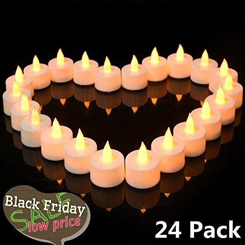 Christmas Luminaries For Sale - Flickering LED Tea Lights 24 Pack, Flameless LED Candles Set/Reusable Electric Tealights, Votive Pillar Candles for Party, Wedding, Birthday, Holiday & Home Decoration