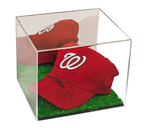 Better Display Cases Deluxe Acrylic Baseball Cap Display Case with Turf Base and Mirror (A006-TB)