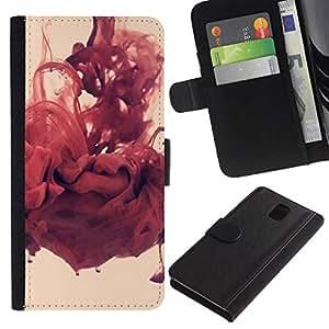 NEECELL GIFT forCITY // Billetera de cuero Caso Cubierta de protección Carcasa / Leather Wallet Case for Samsung Galaxy Note 3 III // Abstracto rojo