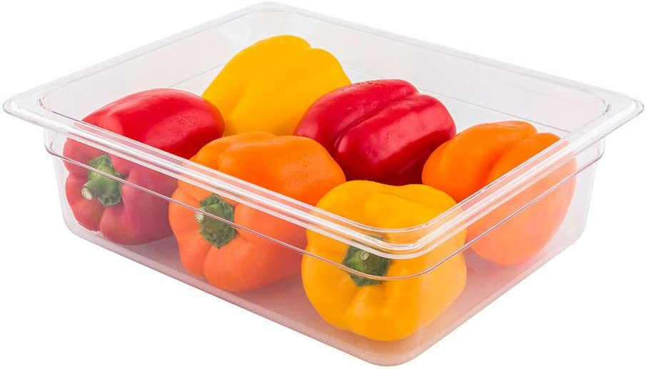 Met Lux 4 Inch Deep Food Pans, 1 1/2 Size Commercial Food Storage Container - Freezer-Safe, Break-Resistant, Clear Plastic Cold Pans, Dishwasher-Safe, For Kitchens, Restaurants, Or Cafeterias
