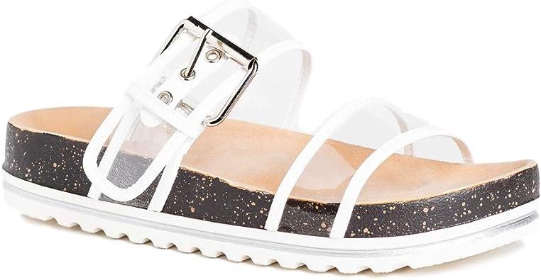 Flat Platform Buckled Cork Sandals
