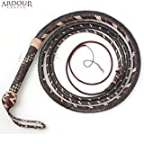 BULL WHIP 08 Feet 16 Plaits Cow Hide Leather CUSTOM BULLWHIP Belly and Bolster Construction Dark Brown
