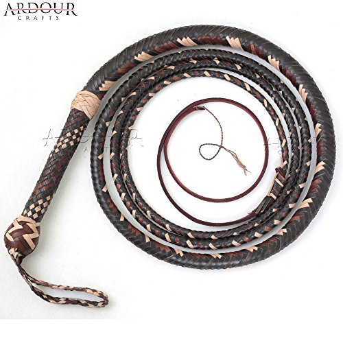 Ardour Crafts Bull Whip 10 Feet 16 Plaits Cow Hide Leather Custom BULLWHIP Belly and Bolster Construction Dark Brown]()