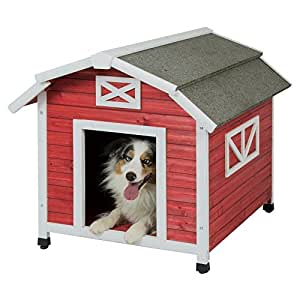 Precision Pet Barn Dog House for Large Dogs, Old Red