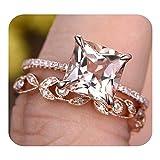 RUDRAFASHION 7mm Princess Cut Morganite & Diamond 14k Rose Gold Over .925 Sterling Silver Wedding Bridal Ring Set Deco Floral Ring Set Style,Promise Ring
