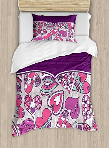Lunarable Violet Duvet Cover Set Twin Size, Heart Shapes with Different Cheerful Patterns Valentine's Day Inspiration, Decorative 2 Piece Bedding Set with 1 Pillow Sham, Pink Purple Pale Grey