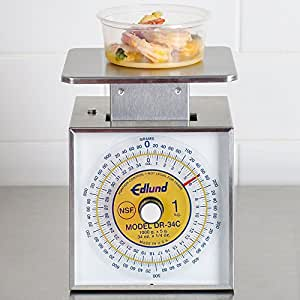 """Edlund DR34-C Combination U.S. and Metric 34 oz. / 1000 g. Portion Scale with 6"""" x 6 3/4"""" Platform"""