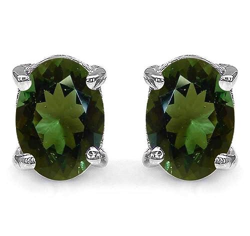 Natural Gemstones 925 Sterling Silver Oval stud Earrings for Women