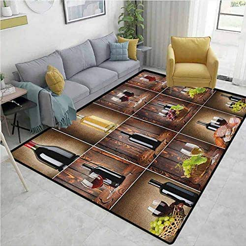 Classroom Rug Wine Wine Themed Collage on Wooden Backdrop with Grapes and Meat Rustic Country Drink Machine Washable Brown Black Red