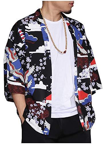 Men's Casual Japan Cranes Printed Cotton Kimono Cardigan 3/6 Sleeve Open Front Coat Blue