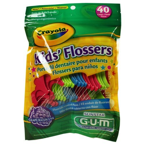 GUM Crayola Kids' Flossers 40 Ct (Pack of 9) (assorted colors)