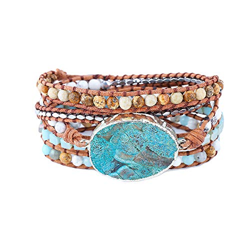 IUNIQUEEN Boho Handmde Ocean Jasper Druzy Wrap Bead Bracelet Jewelry Collection (Silver&Jasper)