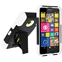 Amzer Double Layer Hybrid Case Cover with Kickstand for Nokia Lumia 635/630 - Retail Packaging - Black/White