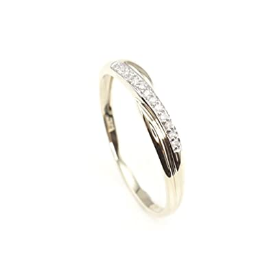 MOJ 9ct Handcrafted Real Gold Genuine White Diamond Wedding Band Engagement Ring Love Promise Ring Gift Set for Her Women Full Size 9U5WR6m